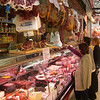 A meat stall in the central market, Valencia, Spain